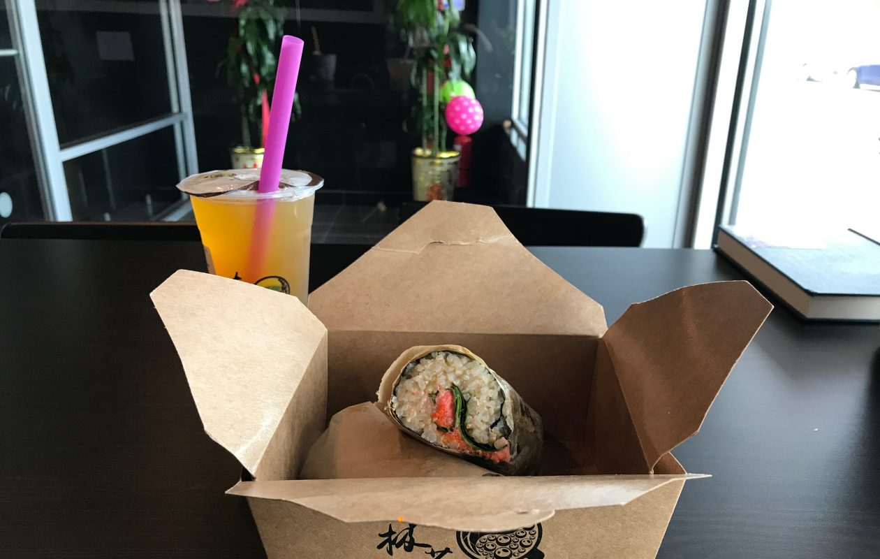 A sushi burrito from Taichi. (Caitlin Hartney/Special to The News)