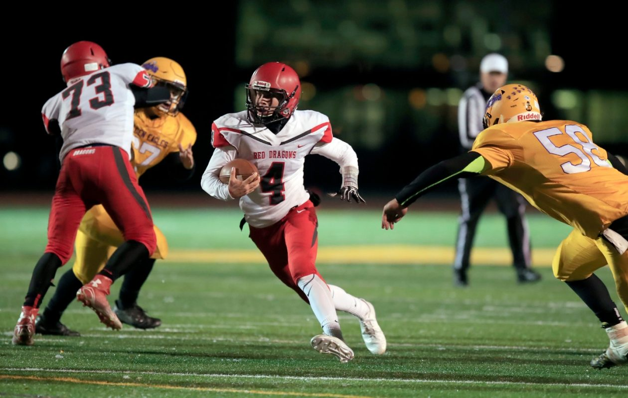 Easton Tanner rushed for 139 of Maple Grove's 462 yards in the regional final last weekend. (Harry Scull Jr./Buffalo News)