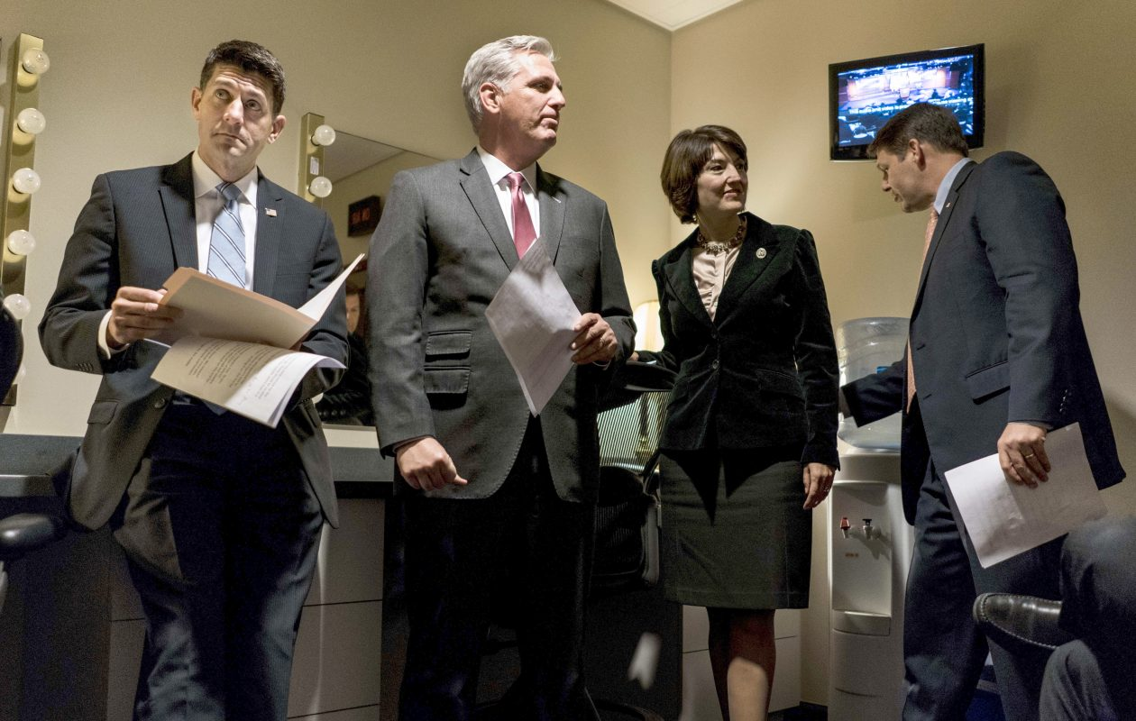 (L-r) Speaker of the House Paul Ryan, House Majority Leader Kevin McCarthy and Rep. Cathy McMorris Rodgers hold a news conference Tuesday on the House tax plan.  (Washington Post)