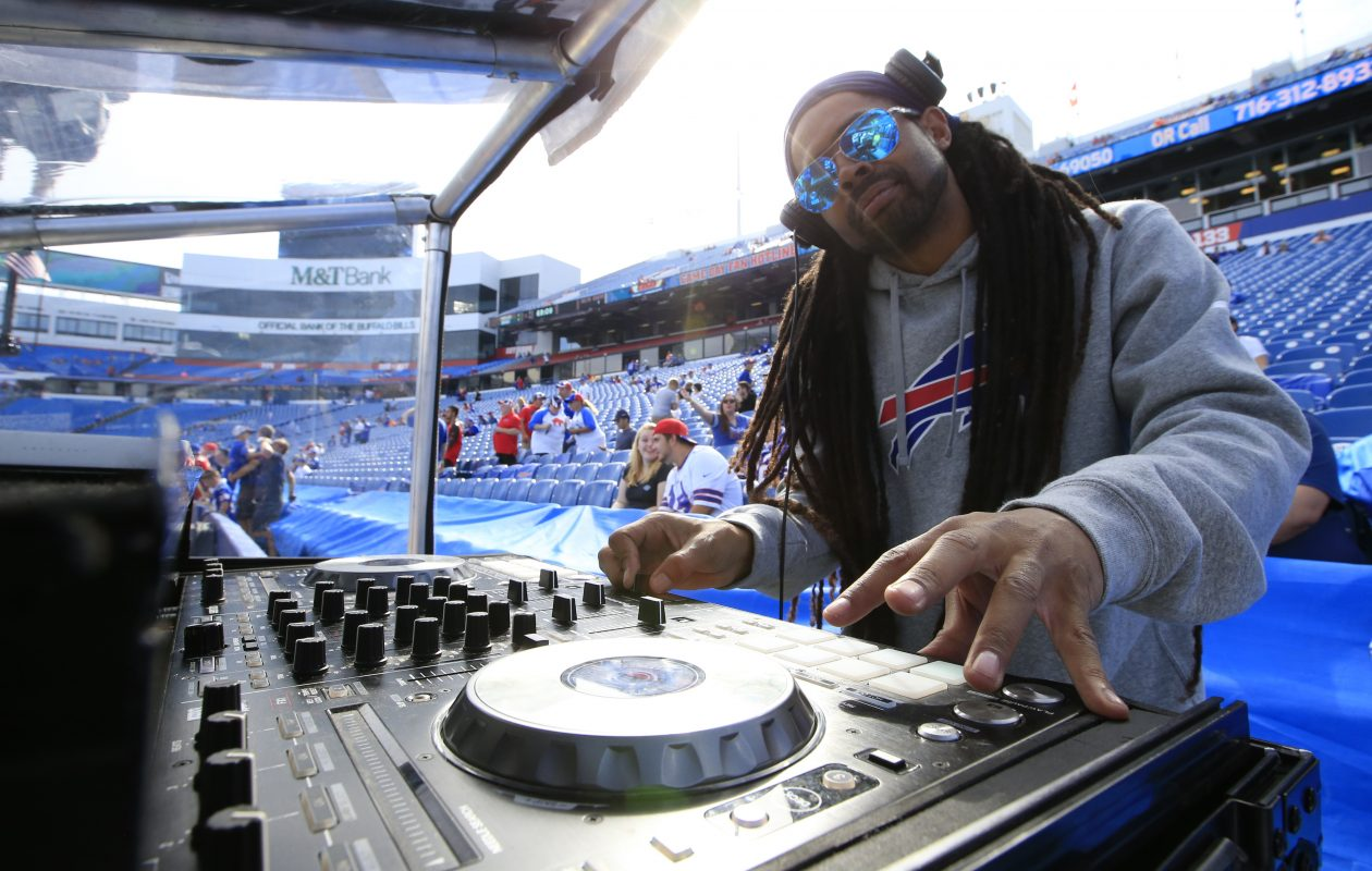 DJ Milk spins music prior to the Buffalo Bills and Tampa Bay Buccaneers at New Era Field on Sunday, Oct. 22, 2017. (Harry Scull Jr./Buffalo News)