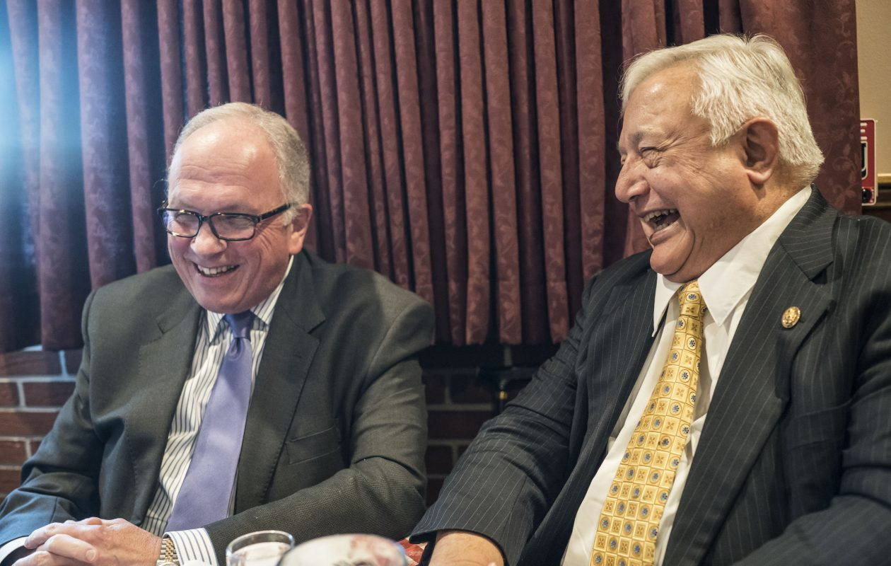 Former Congressmen  Tom Reynolds, left, and John LaFalce, who each served lengthy terms in Washington representing Western New Yorks, talk about politics over lunch at Chef's Restaurant. in 2017. (Derek Gee/Buffalo News)