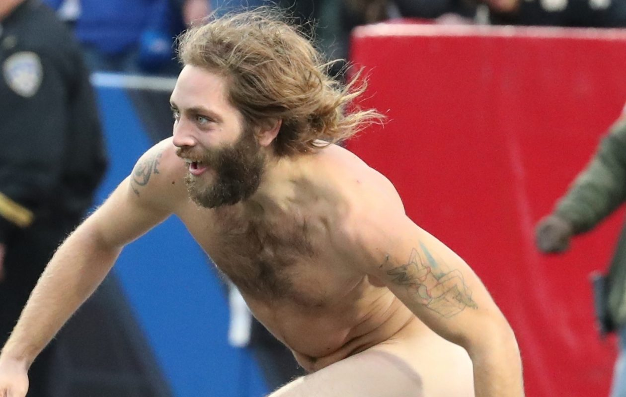 Tristan Lambright pleaded guilty in Orchard Park Town Court for streaking at a Bills game last month.  (James P. McCoy/Buffalo News)