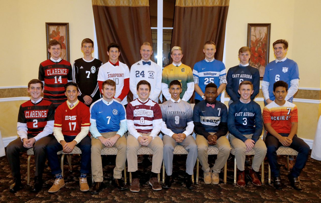 Members of the All-Western New York boys soccer first team. Front row, from left, Bobby O'Brien (Clarence), Trey Buscaglia (Williamsville East), Trevor Moreland (Newfane), Spencer Frome (St. Joe's), Abdulhamid Albaneh (Lackawanna), Abdullahi Hussein (I-Prep), Bryce Schiltz (East Aurora) and Zakaria Shaibi (McKinley).  Standing, from left, Chris O'Brien (Clarence), Dylan Talbot (Allegany-Limestone), Maxwell Balko (Starpoint), Alexander Fusani (Kenmore West), Justin Bonetto (Williamsville North), Steven Pufpaff (Grand Island), Jack Bean (East Aurora) and John Griffin (Grand Island). (Robert Kirkham/Buffalo News)