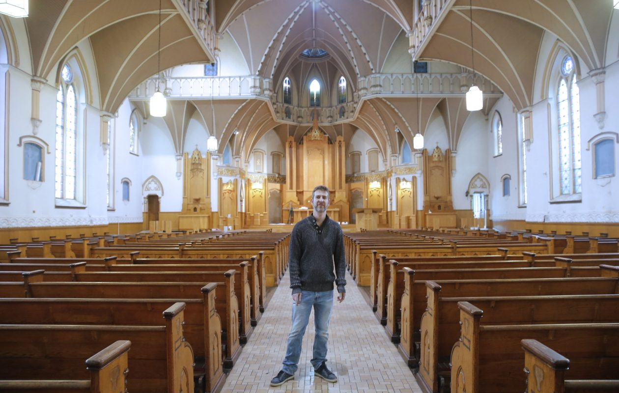 Brian Wantuch purchased the vacant St. Clare Catholic Church on Elk Street in Buffalo and has some big plans for it.  (Robert Kirkham/Buffalo News)
