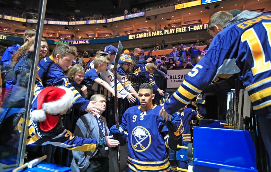 Evander Kane is giving kids a hand both inside and outside the Sabres' arena. (Harry Scull Jr./Buffalo News)