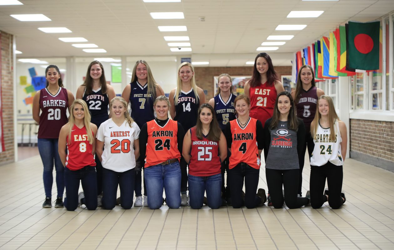 Members of the All-Western New York field hockey first team. Front row, from left, Holly Schmelzer (Williamsville East), Casey Adimey (Amherst), Abby Stone (Akron), Holly Stiller (Iroquois), Olivia Diebel (Akron), Gabriella Walsh (Clarence) and Erin Roland (Williamsville North). Back row, from left, Katrina Clare (Barker), Elisabeth Sidorski (Williamsville South), Renee Lauer (Sweet Home), Marnie Reidell (Williamsville South), Riley Kromer (Sweet Home), Hannah Nurse (Williamsville East) and Kayla Blas (Sacred Heart). (Harry Scull Jr./Buffalo News)