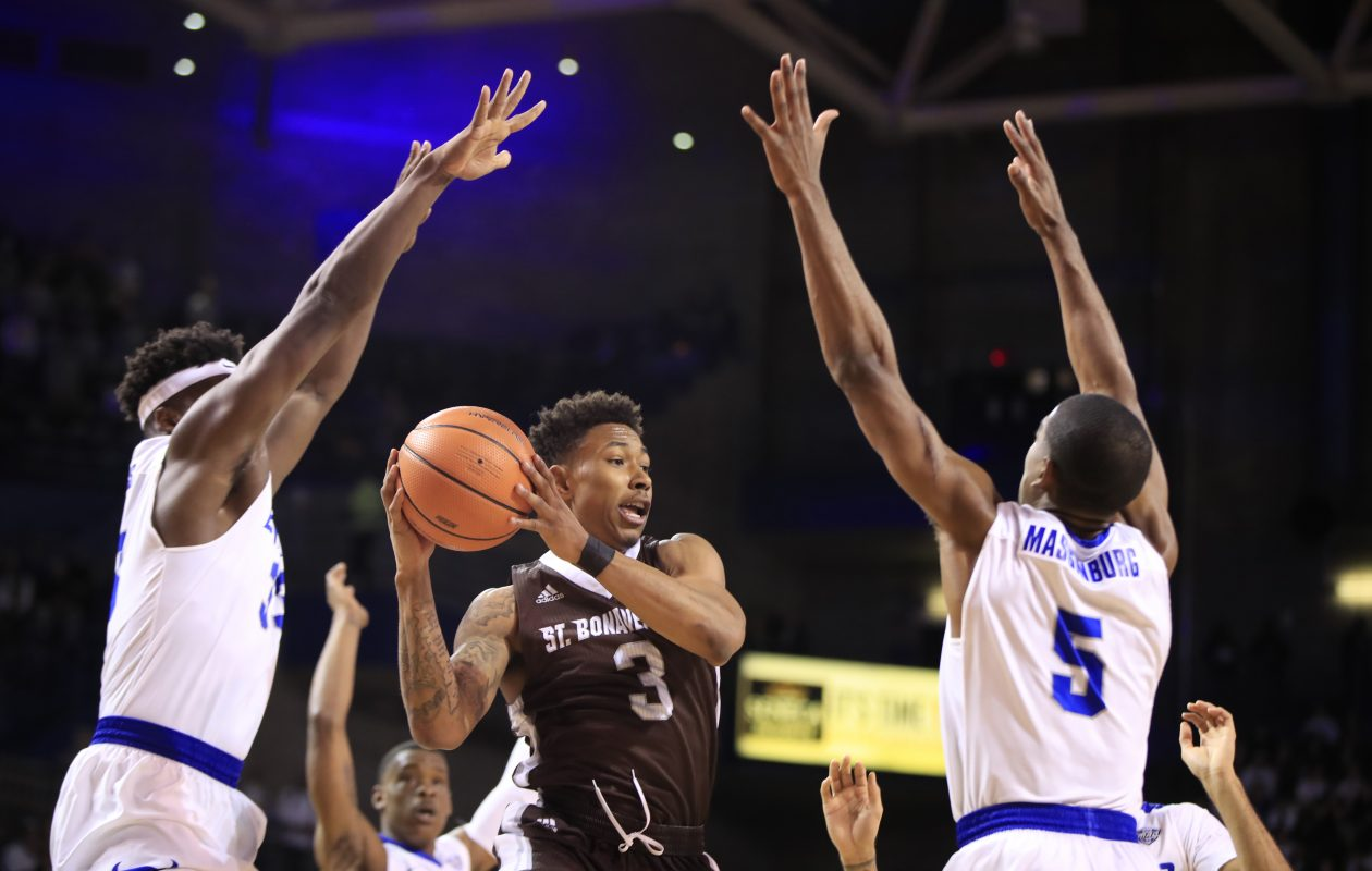 St. Bonaventure guard Jaylen Adams finished with 44 points in a 79-56 victory over Saint Louis. (Harry Scull Jr./Buffalo News)