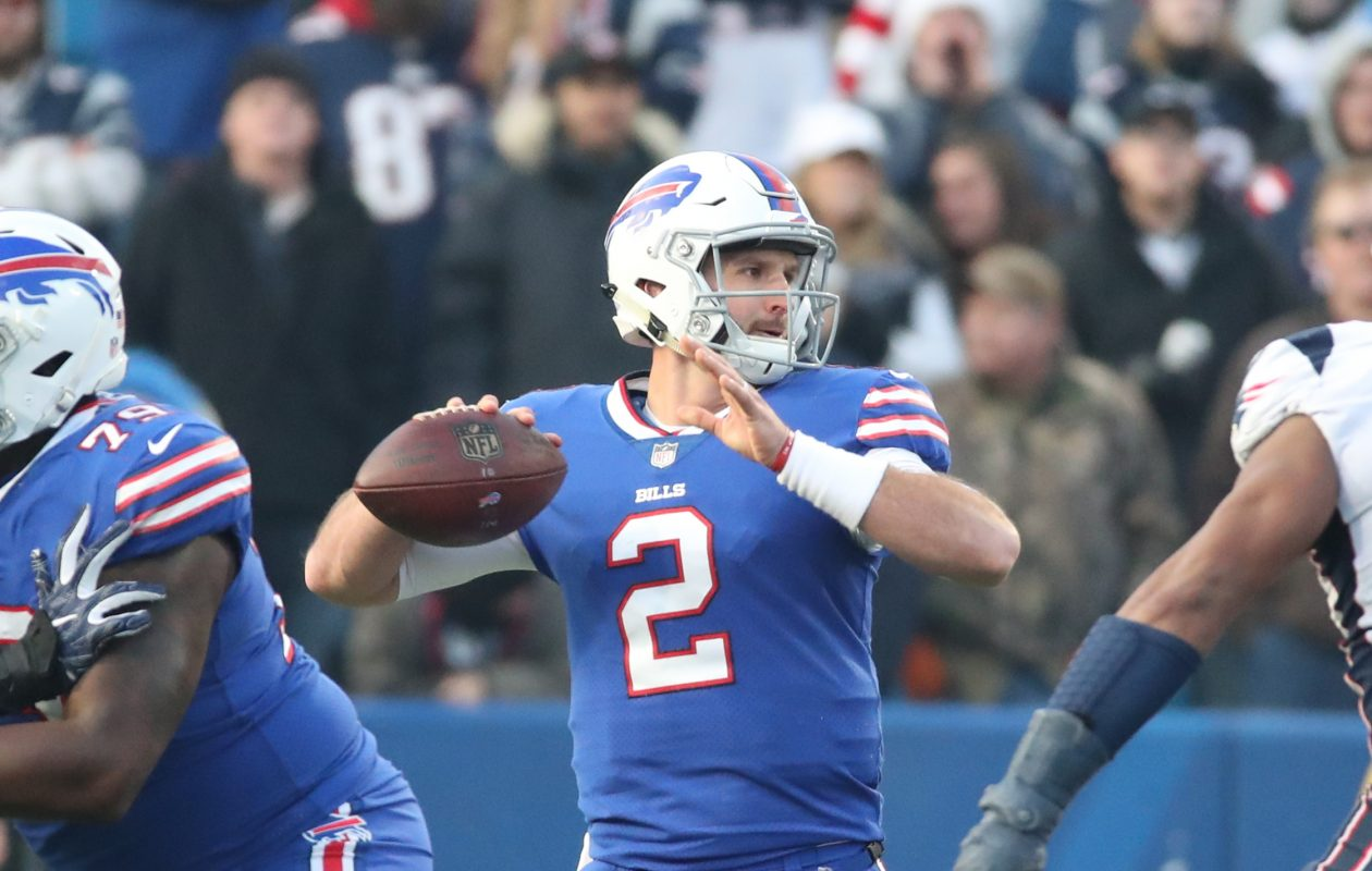Bills quarterback Nathan Peterman replaced an injured Tyrod Taylor in the fourth quarter Sunday. (James P. McCoy/Buffalo News)