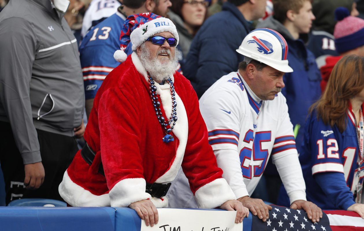 Bills fans watch the action in the first quarter against the Patriots. (Mark Mulville/Buffalo News)