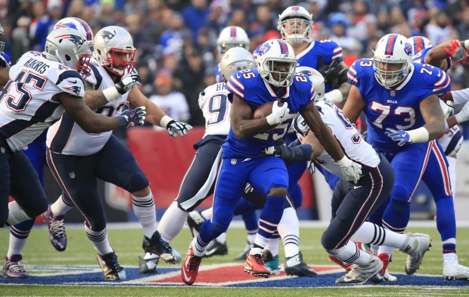 Buffalo Bills' LeSean McCoy runs against the New England Patriots during second quarter action at New Era Field on Sunday, Dec. 3, 2017. (Harry Scull Jr./Buffalo News)