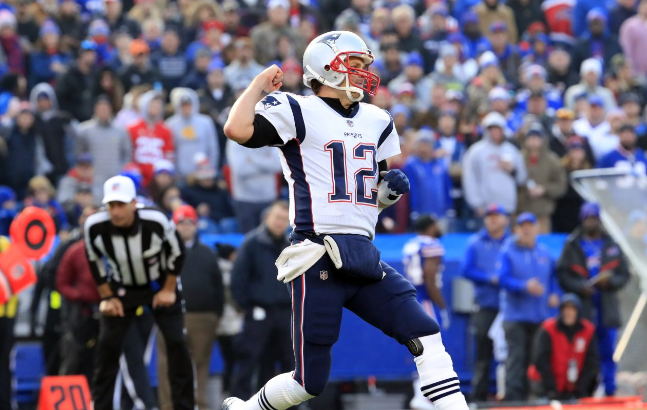 New England Patriots quarterback Tom Brady celebrates a Rex Buckhead touchdown against the Buffalo Bills during third quarter action at New Era Field on Sunday, Dec. 3, 2017. (Harry Scull Jr./News file photo)