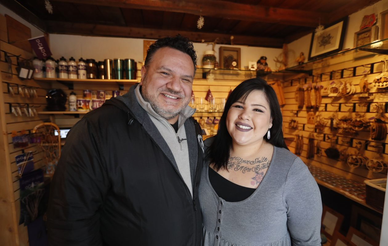 Rayekwiratkyehná:we:k Robert D'Alimonte and Yaihrátha Murisa Printup are partners in life and in their business, Tuscarora WoodWorks.    Their work is focused on sharing their culture through the production of a wide variety of beautiful and useful items. (Mark Mulville/Buffalo News)
