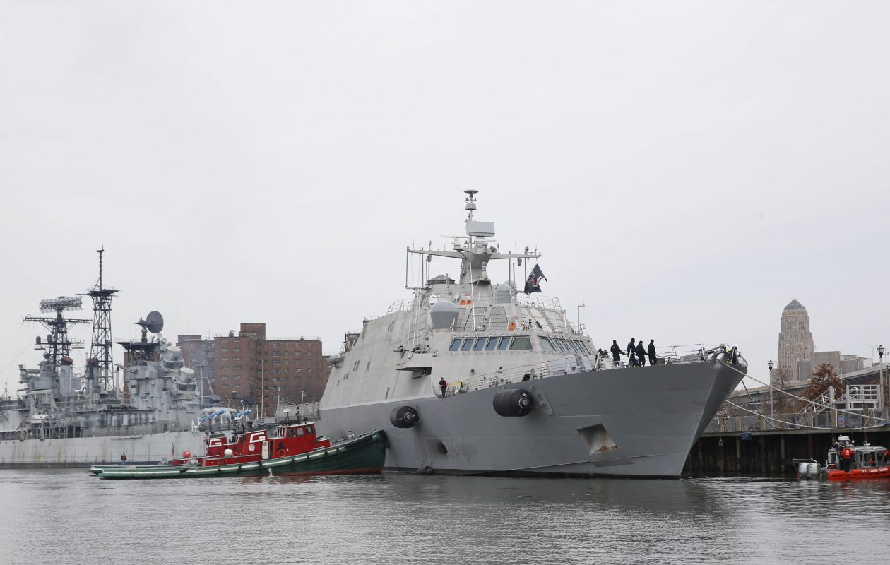 The U.S.S. Little Rock, commissioned in Buffalo, carries unmanned helicopters that use technology developed in Buffalo by a growing defense contractor called RED-INC. (Sharon Cantillon)
