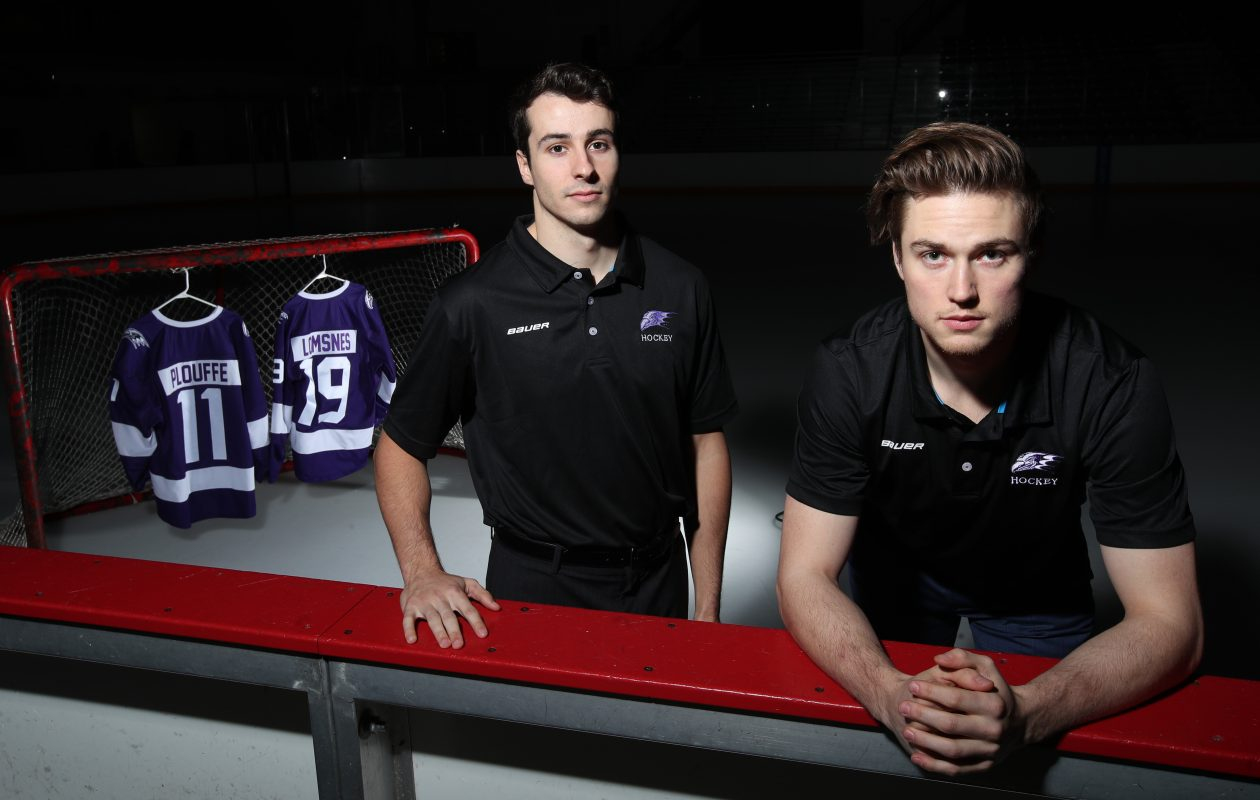 Derian Plouffe (left) and Tanner Lomsnes are leading Niagara's hockey resurgence after overcoming serious injuries. (James P. McCoy/Buffalo News)