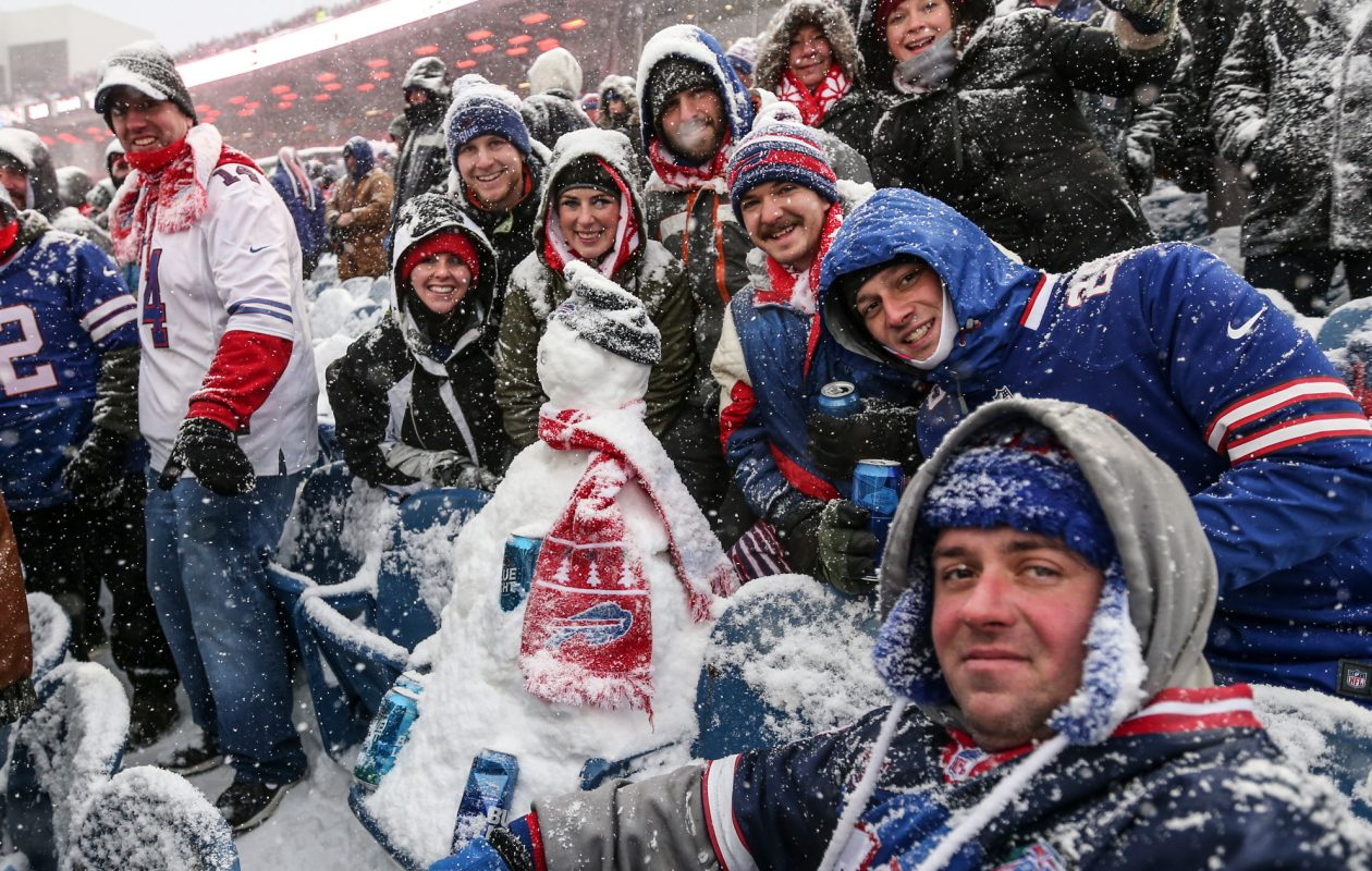 Buffalo Bills fans made a snowman in the seats in the third quarter at New Era Field in Orchard Park on Sunday, Dec. 10, 2017. (James P. McCoy/Buffalo News)