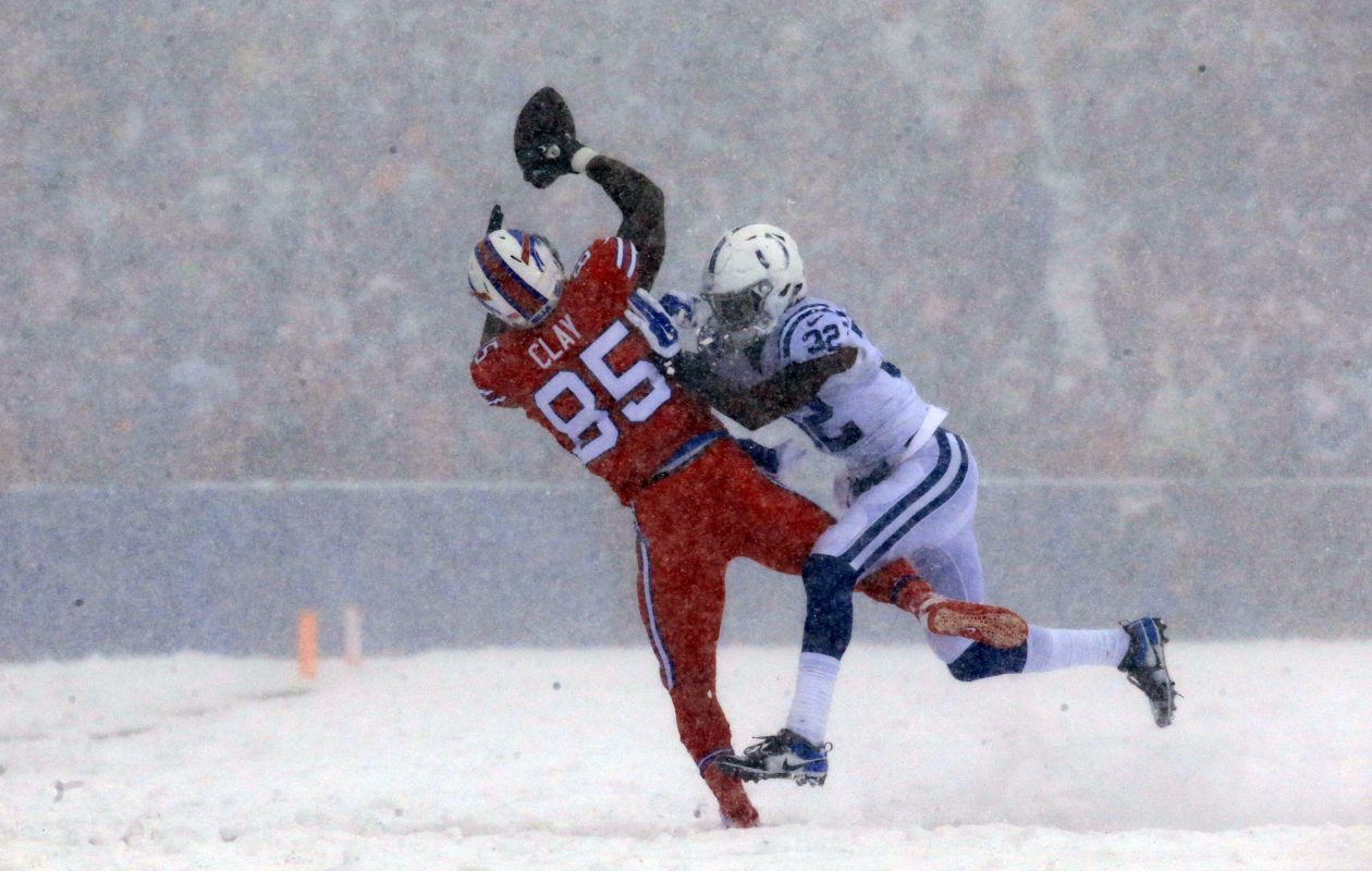 Buffalo Bills Charles Clay cannot catch a ball as he is defended by Indianapolis Colts defensive back T.J. Green during first quarter action at New Era Field on Sunday, Dec. 10, 2017. (Harry Scull Jr./Buffalo News)