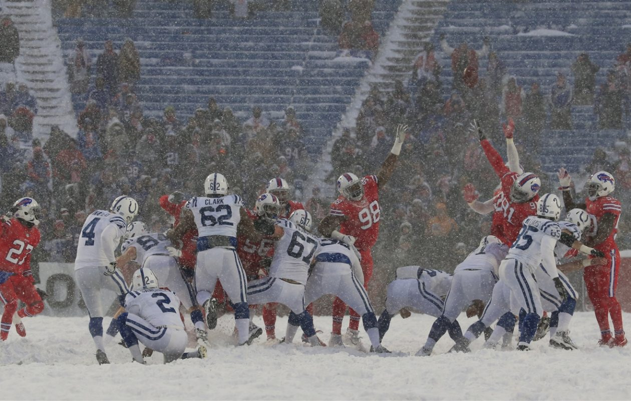 Colts kicker Adam Vinatieri kicks a game-tying extra point in the fourth quarter (Harry Scull Jr/Buffalo News)