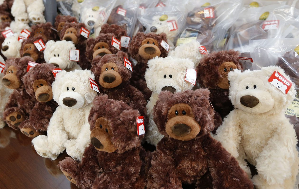Teddy bears were donated to the Town of Tonawanda Police Department to distribute to children by Buffalo Biodiesel. They are exhibited at the police station on Sheridan Drive  on Tuesday, Dec. 12, 2017.  (Robert Kirkham/Buffalo News)