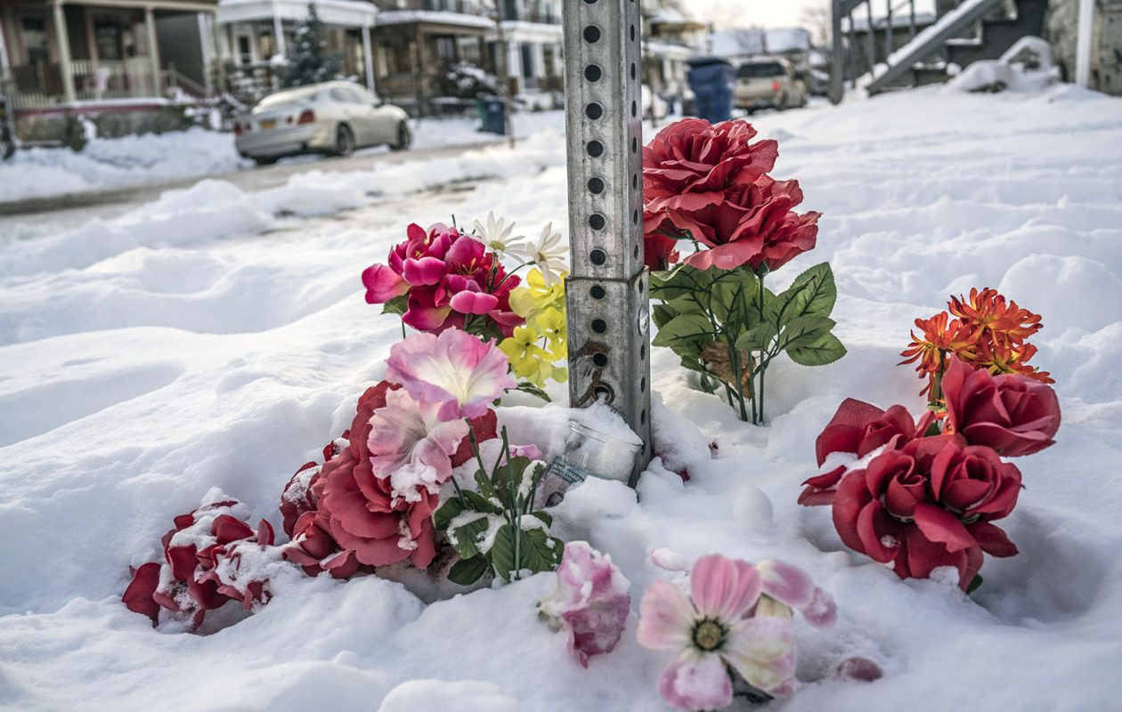 A memorial at the intersection of Hoyt and Arnold near where Wardel 'Meech' Davis died on Feb. 7 as he was taken into Buffalo Police custody, Wednesday, Dec. 13, 2017. (Derek Gee/Buffalo News)
