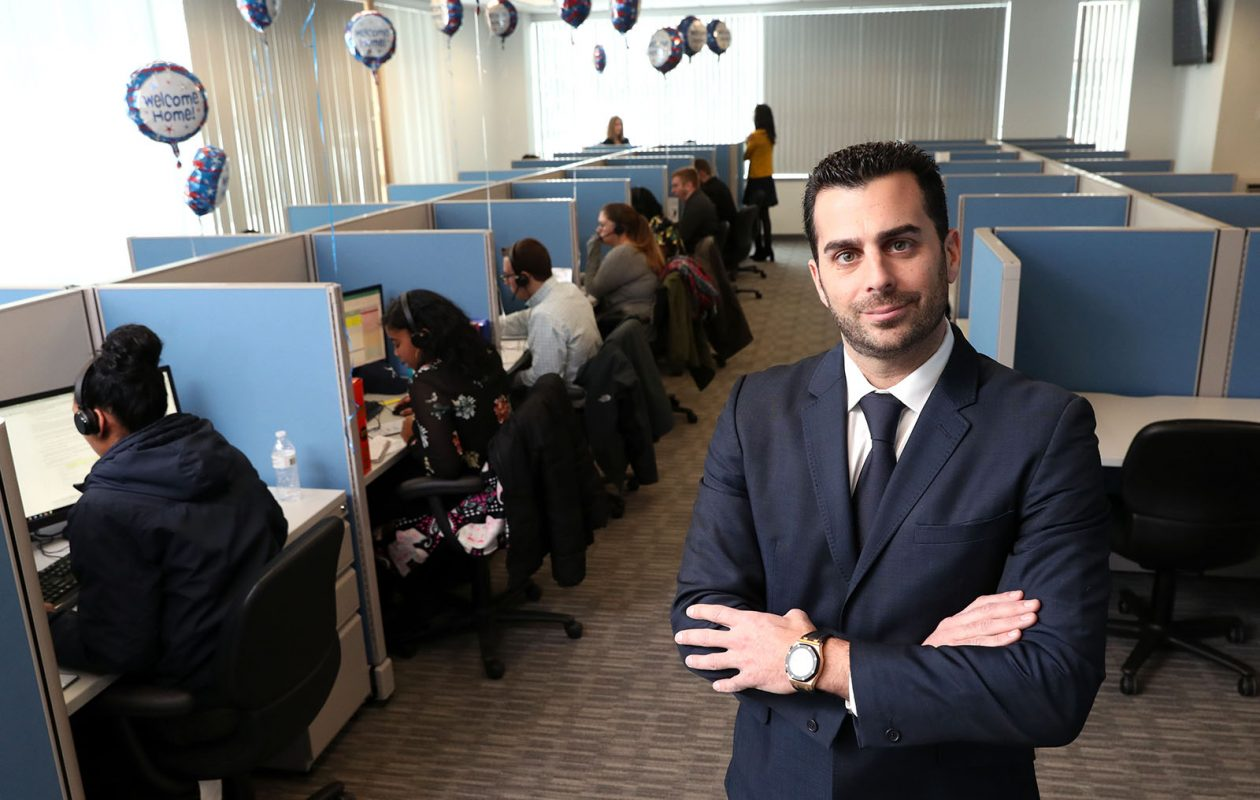 Strategic Financial Solutions CEO Ryan Sasson at the Manhattan-based company's home in Amherst, where the firm plans to employ up to 1,500 people over the next five years.  (Sharon Cantillon/Buffalo News)