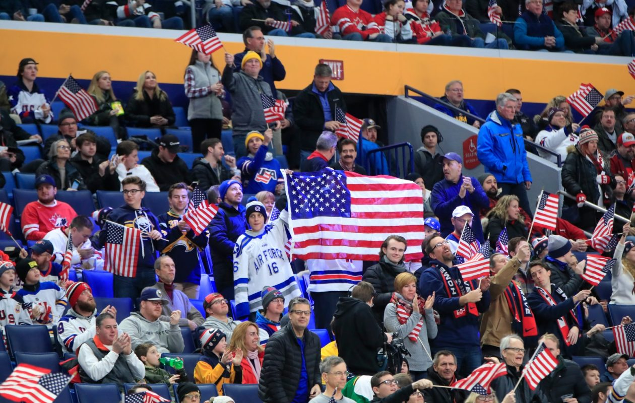 USA fans at the team's opening game. (Harry Scull Jr./Buffalo News)