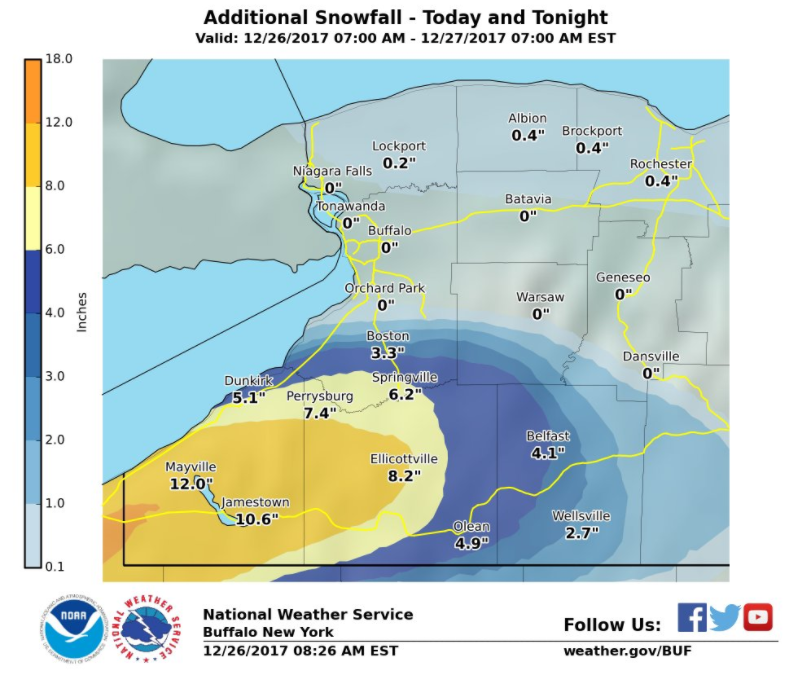 Deep freeze in Buffalo as lake-effect snow pounds Southern Tier