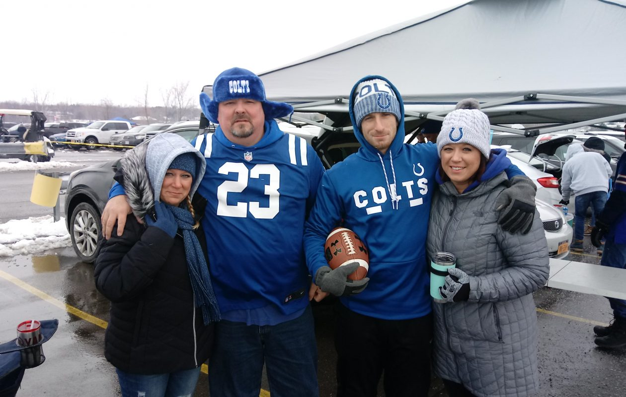 From left, Lisa Reardon, Brandon Reardon, Jonathon Rollyson and Elesha Rollyson drove eight hours from Indianapolis to Buffalo for the Colts' game against the Bills Sunday, Dec. 10, 2017. (Luke Hammill/Special to The News)