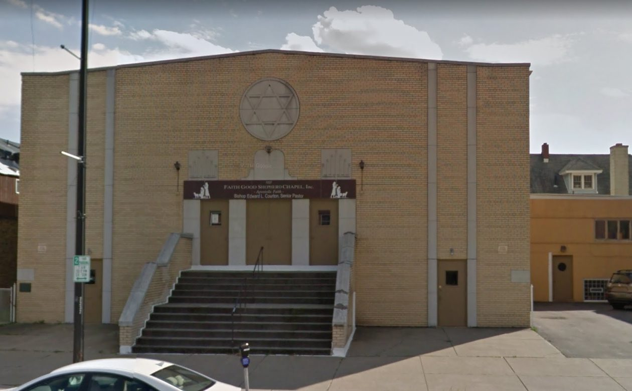 The former B'rith Israel Anshe Ames Synagogue, and more recently the Faith of the Good Shepherd Chapel on Hertel Avenue, will be converted into apartments. (Source: Google)