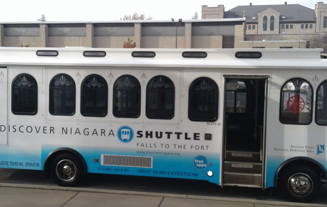 The Discover Niagara Shuttle parked outside Castellani Art Museum at Niagara University on Dec. 4, 2017. (Thomas J. Prohaska/Buffalo News)