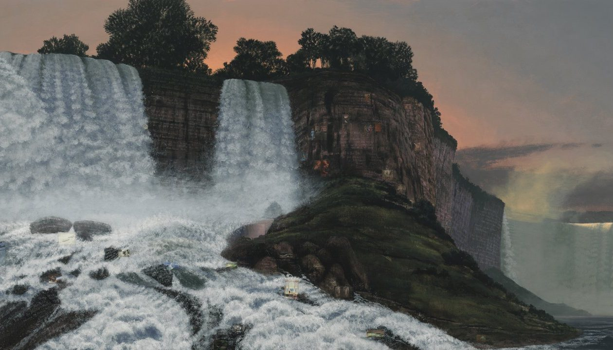 Stephen Hannock gifted his 2013 painting 'The Great Falls at Dawn for Xu Bing' to the Albright-Knox Art Gallery, inspiring the exhibition 'Picturing Niagara.'