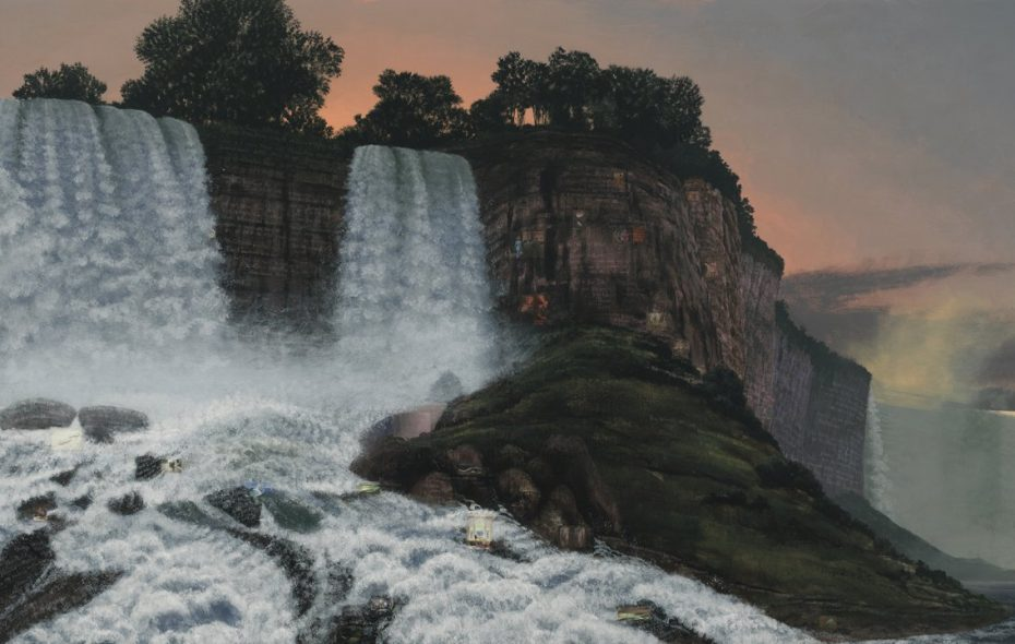 "Stephen Hannock gifted his 2013 painting ""The Great Falls at Dawn for Xu Bing"" to the Albright-Knox Art Gallery, inspiring the exhibition ""Picturing Niagara."""