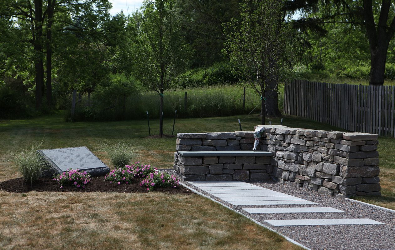A memorial for victims of Flight 3407 marks where the aircraft came down in Clarence Center. (Buffalo News file photo}