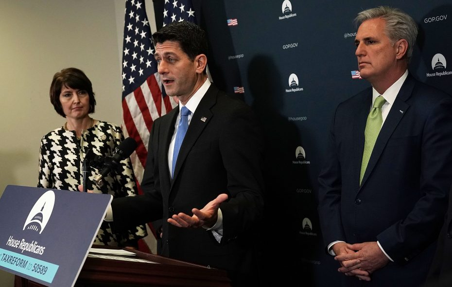 Speaker of the House Paul Ryan, center, speaks as House Republican Conference Chairwoman Cathy McMorris Rodgers, R-Wash., and House Majority Leader Rep. Kevin McCarthy, R-Calif., listen during a news briefing after a House Republican Conference meeting at the Capitol Dec. 19, 2017, in Washington, D.C. The House is expected to vote on the tax bill this afternoon.  (Photo by Alex Wong/Getty Images)