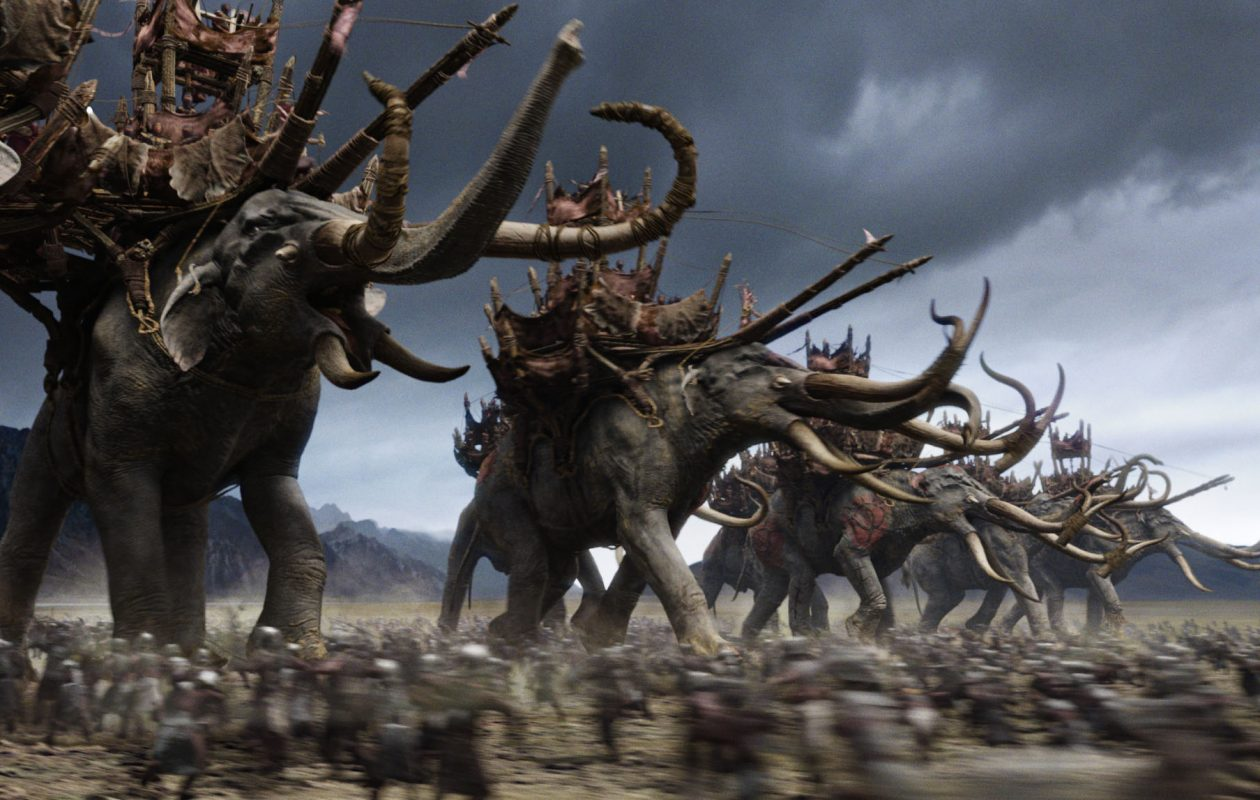 Mumakil advance in the battle at Pelennor Fields in The Lord of the Rings: The Return of the King.