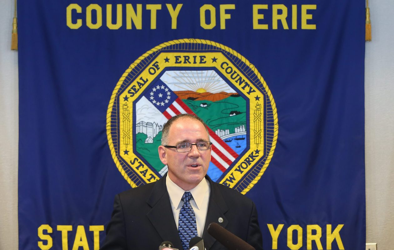 Al Dirschberger speaks with the media after being introduced by County Executive Mark Poloncarz as his nominee for the Erie County Commissioner of Social Services during a press conference at County Hall in Buffalo on March 11, 2015. (Mark Mulville/Buffalo News)