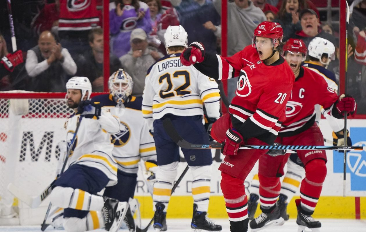 Carolina's Sebastian Aho celebrates his goal in the first minute of play that gave the Hurricanes the lead for good against the Sabres. (USA Today Sports)