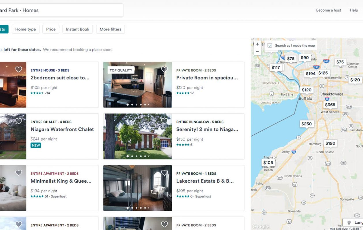 Airbnb rentals go up on the weekends where the Buffalo Bills play home games.