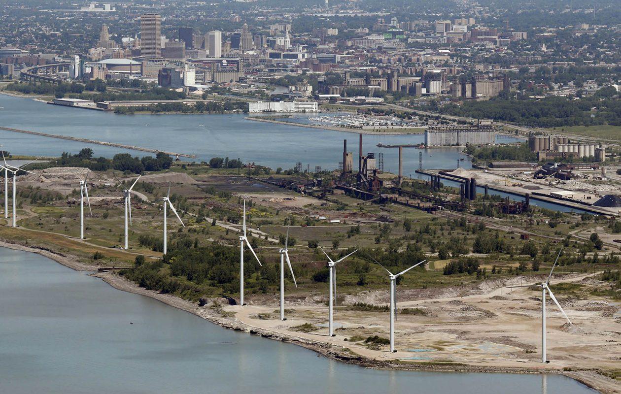 Part of the former Bethlehem Steel property in Lackawanna is now a wind farm.(Derek Gee/Buffalo News)