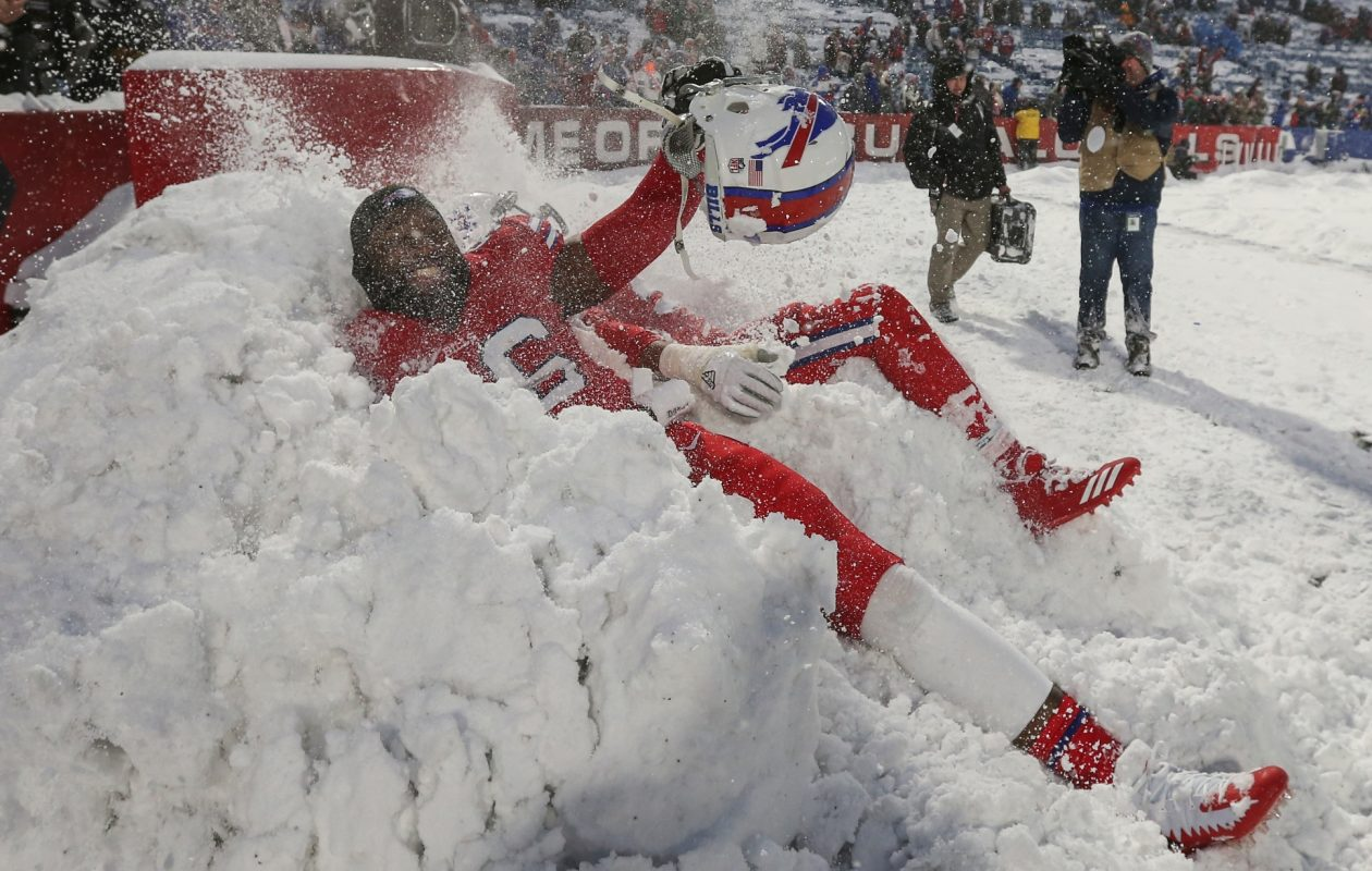 Buffalo Bills defensive end Ryan Davis celebrates after running back LeSean McCoy scored a 21-yard touchdown in overtime to beat the Indianapolis Colts 13-7 at New Era Field on Sunday, Dec. 10, 2017.  (James P. McCoy/Buffalo News)