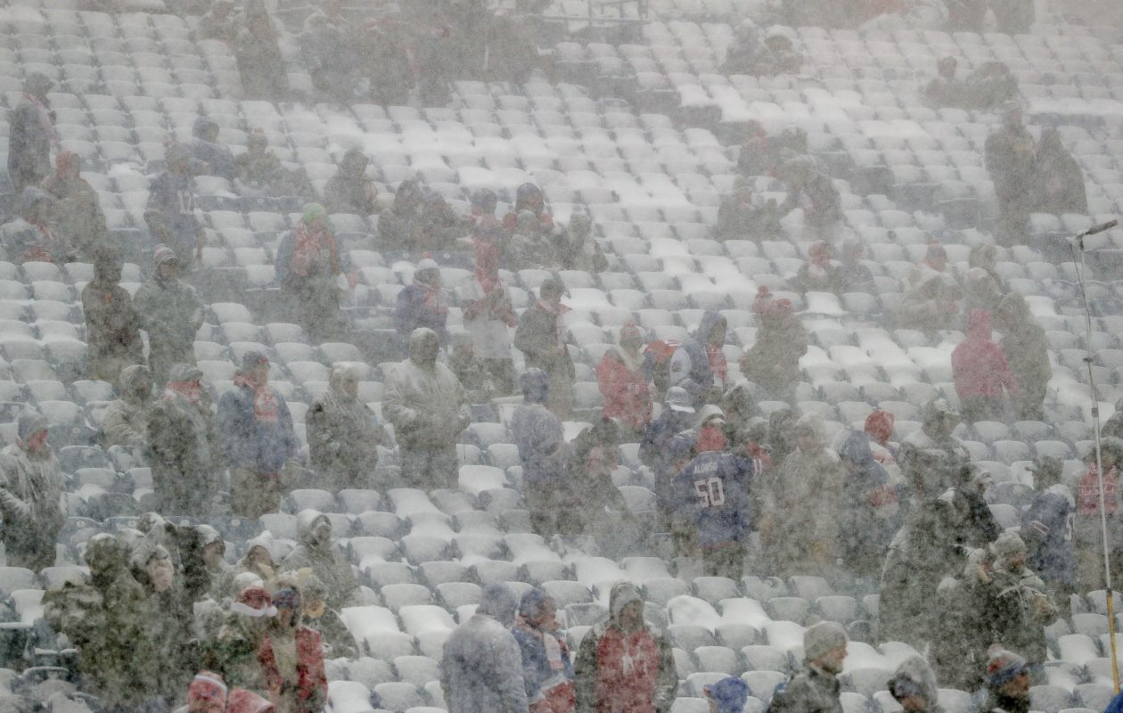 The lake-effect snow pounds the stadium during pregame at New Era Field in Orchard Park N.Y. on Sunday, Dec. 10, 2017.  (James P. McCoy / Buffalo News)
