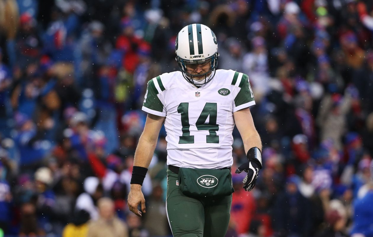 Former Bills quarterback Ryan Fitzpatrick led the New York Jets to a 10-6 record two years ago, but a loss in Orchard Park in the regular-season finale subjected them to a tiebreaker. (Tom Szczerbowski/Getty Images)