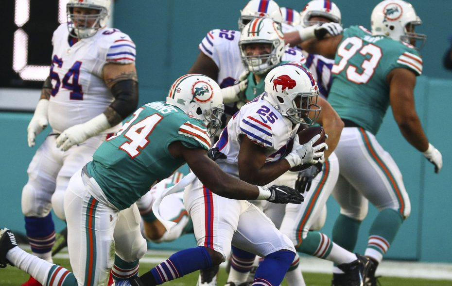 Bills running back LeSean McCoy suffered an ankle injury in the third quarter Sunday against Miami. (James P. McCoy/Buffalo News)