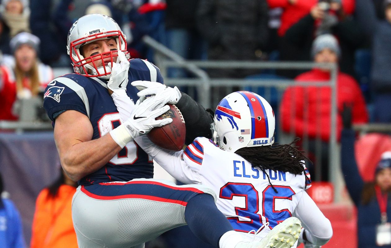 Covering Rob Gronkowski is sometimes impossible, as Bills safety Trae Elston found out Sunday. (James P. McCoy / Buffalo News)