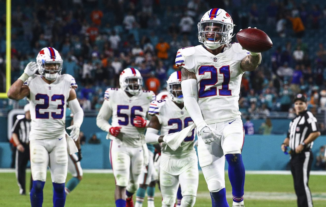 Jordan Poyer and the Buffalo Bills had plenty to celebrate in their last trip to Miami. (James P. McCoy/Buffalo News)