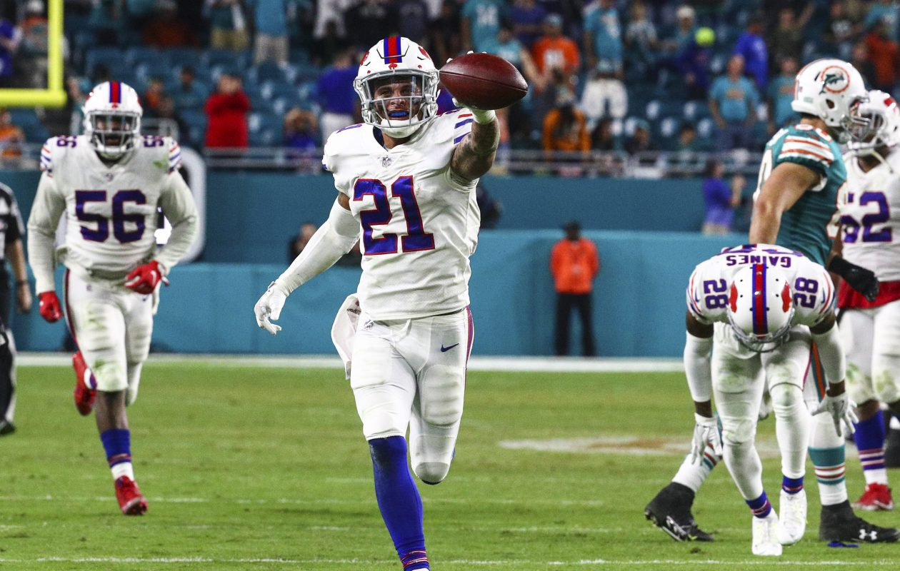 Buffalo Bills free safety Jordan Poyer (21) celebrates after intercepting Miami Dolphins quarterback David Fales (9) during the fourth quarter at Hard Rock Stadium in Miami Gardens, Florida on Sunday, Dec. 31, 2017. (James P. McCoy/Buffalo News)