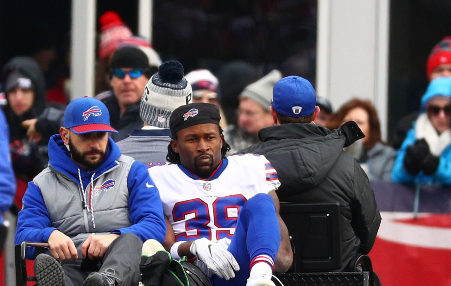 Buffalo Bills running back Travaris Cadet  fractured his ankle in the second quarter at Gillette Stadium. (James P. McCoy / Buffalo News)