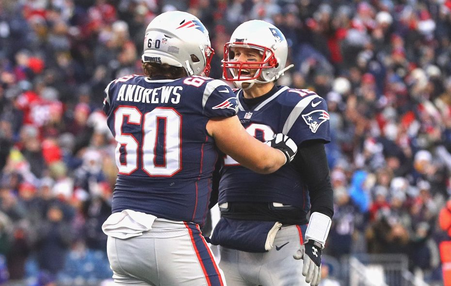 Tom Brady and David Andrews cashed in the red zone.  (Maddie Meyer/Getty Images)