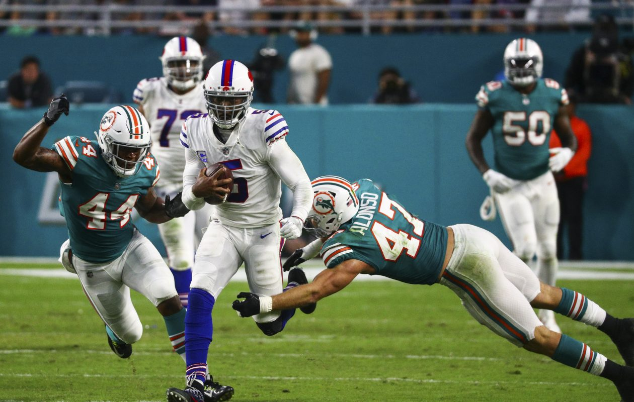 Bills quarterback had 35 rushing yards Sunday in his team's win over Miami. (James P. McCoy/Buffalo News)