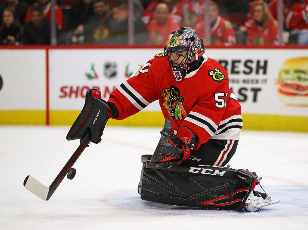 Blackhawks goalie Corey Crawford is 8-0/1.86/.929 in his career against the Sabres (Getty Images)