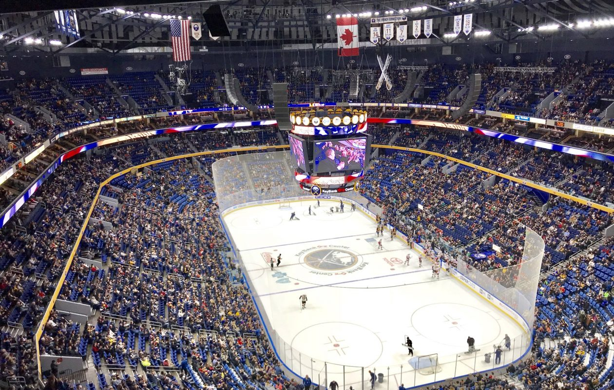 The Sabres sold 17,454 tickets to Tuesday's game, but there weren't that many in attendance in their 19,070-seat arena. (John Vogl/Buffalo News)